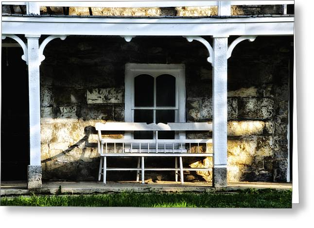 Front Porches Greeting Cards - Front Porch Bench Greeting Card by Bill Cannon