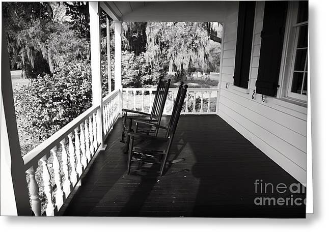 """front Porches"" Greeting Cards - Front Porch Chairs Greeting Card by John Rizzuto"
