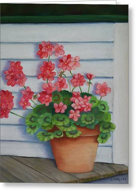 Red Geraniums Pastels Greeting Cards - Front Porch Geraniums Greeting Card by Carol Corliss