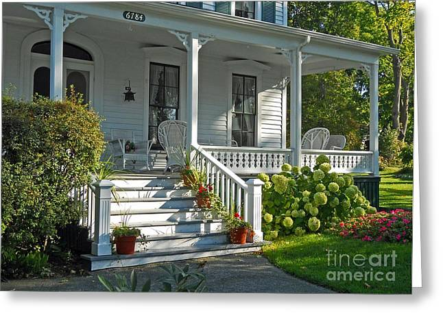 Michigan Farmhouse Greeting Cards - Front Porch in Summer Greeting Card by Desiree Paquette