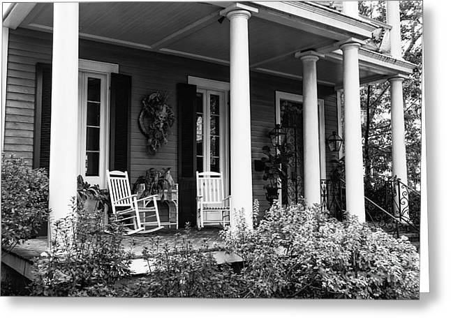 """front Porches"" Greeting Cards - Front Porch in the Garden District mono Greeting Card by John Rizzuto"