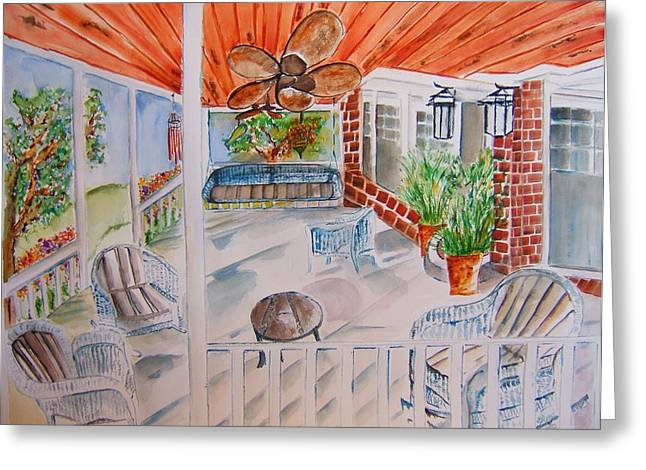 Front Porch Sitting Greeting Card by Elaine Duras