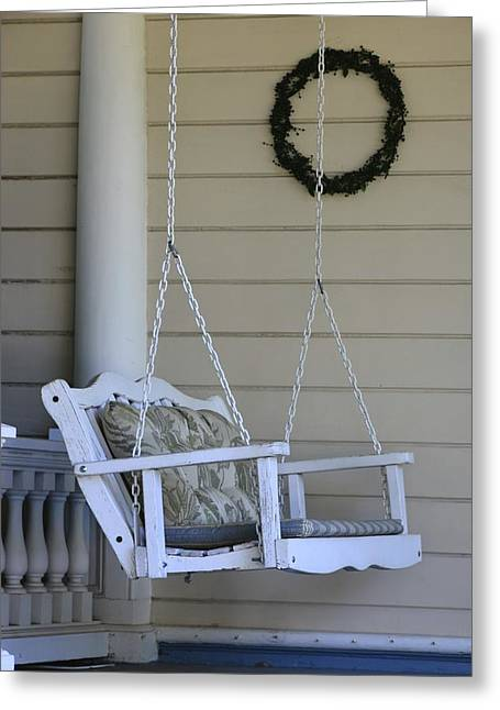 Historic Home Greeting Cards - Front Porch Swing Greeting Card by William Hallett