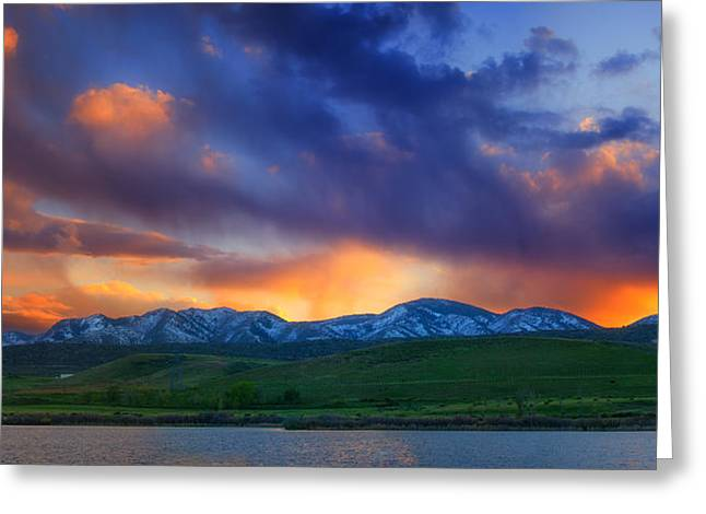 Snow Capped Photographs Greeting Cards - Front Range Light Show Greeting Card by Darren  White