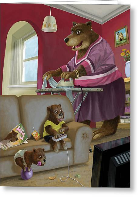 Cute Bear Cartoon Greeting Cards - Front Room Bear Family Son Playing Computer Game Greeting Card by Martin Davey