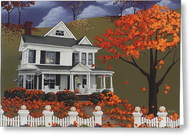 Folkart Greeting Cards - Front Row Seats at Wingate Place Greeting Card by Catherine Holman