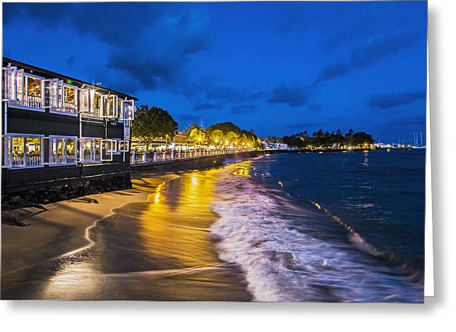 Recently Sold -  - Lahaina Greeting Cards - Front St After Sunset Greeting Card by Charlie Osborn