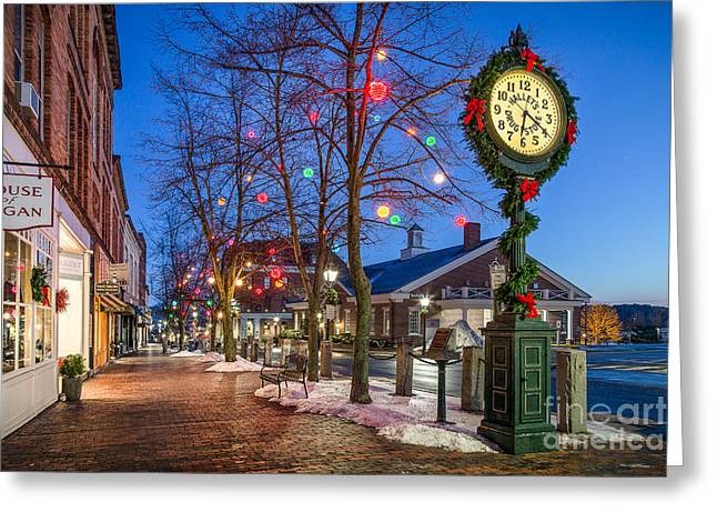 Drug House Greeting Cards - Front Street Holiday Scene Greeting Card by Benjamin Williamson