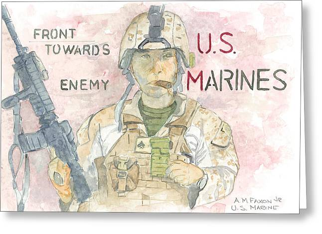 Grunts Greeting Cards - Front Towards Enemy 1 Greeting Card by Al Faxon