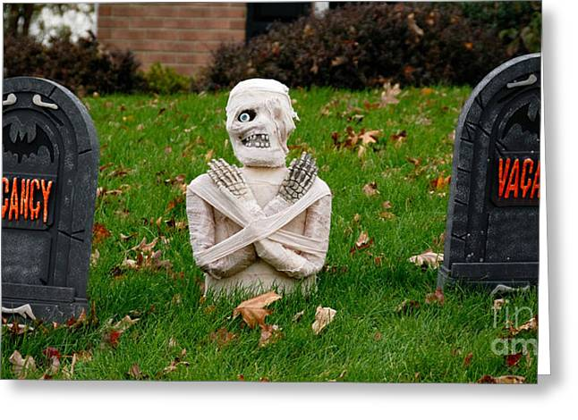 Front Yard Halloween Graveyard Greeting Card by Amy Cicconi