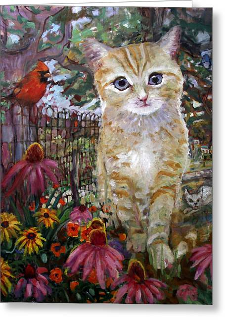 Vermont Rooster Greeting Cards - Front Yard Kitty Greeting Card by Paul Emory