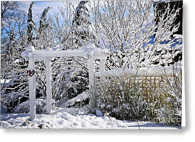 Snowstorm Greeting Cards - Front yard of a house in winter Greeting Card by Elena Elisseeva