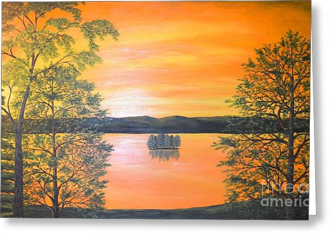 Photograph Of Artist Paintings Greeting Cards - Frontac Island sunset on Cayuga Lake Greeting Card by Carolyn Freligh