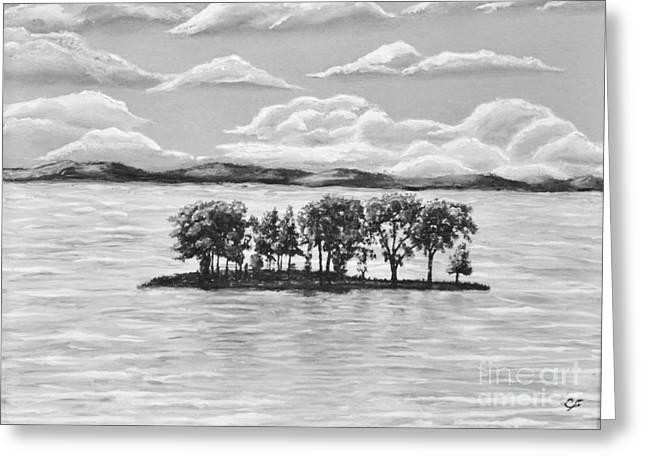 Photograph Of Artist Paintings Greeting Cards - Frontenac Island on Cayuga Lake NY Greeting Card by Carolyn Freligh
