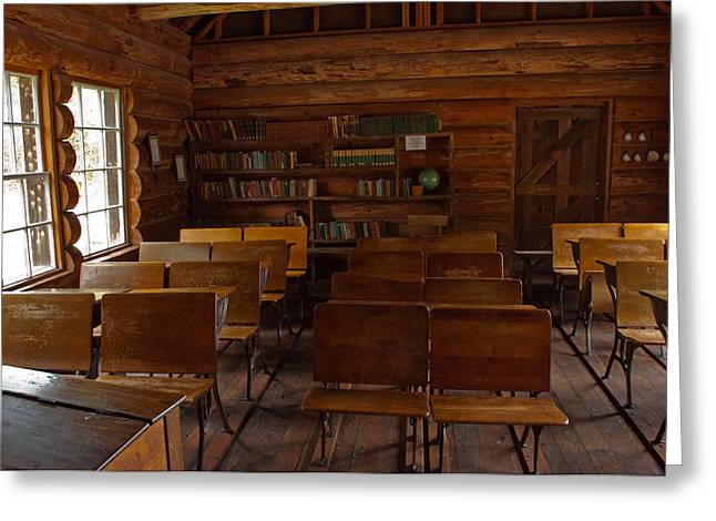 Log Cabin Interiors Greeting Cards - Frontier Classroom Greeting Card by Roger Reeves  and Terrie Heslop