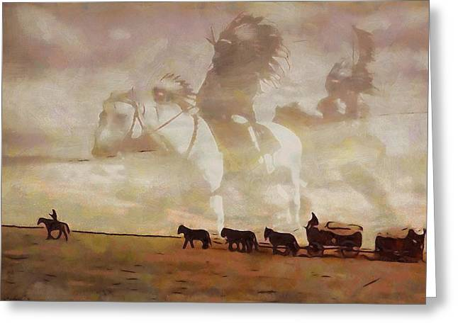 Wagon Mixed Media Greeting Cards - Frontier Spirit Greeting Card by Dan Sproul