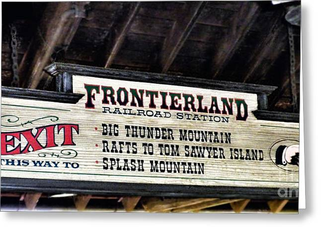 Experimental Prototype Community Of Tomorrow Greeting Cards - Frontierland Sign Greeting Card by Thomas Woolworth