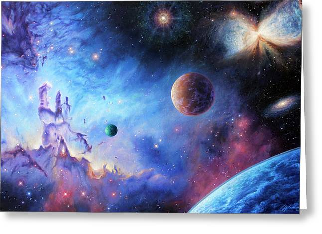 Exoplanet Paintings Greeting Cards - Frontiers of the Cosmos Greeting Card by Lucy West