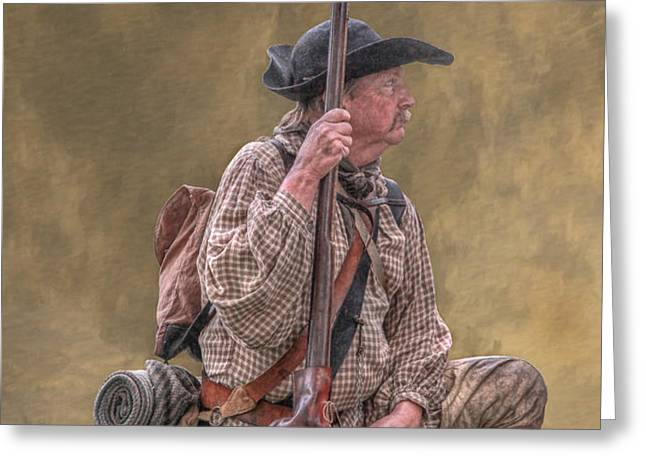 Frontiersman Golden Morning Greeting Card by Randy Steele