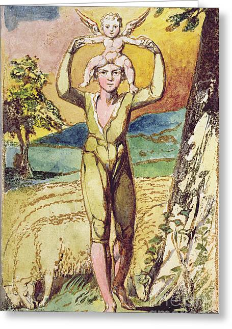 Literature Greeting Cards - Frontispiece from Songs of Innocence Greeting Card by William Blake
