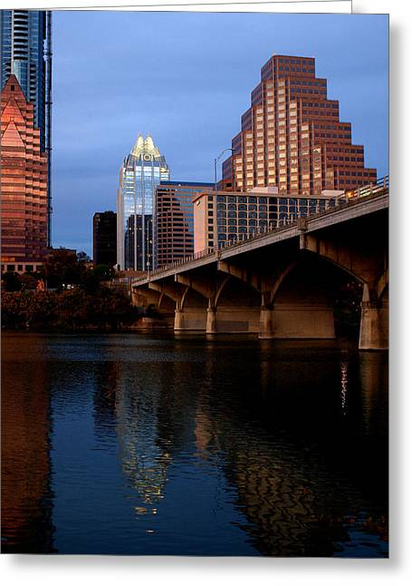 Frost Bank Building Greeting Cards - Frost Across The River Greeting Card by James Granberry