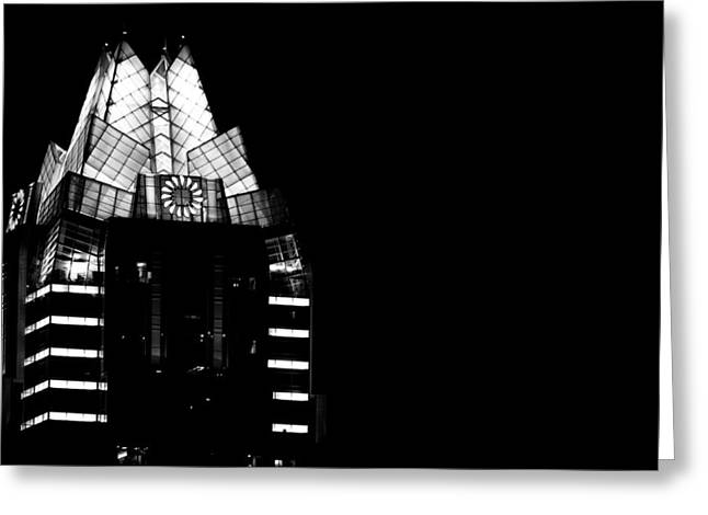 Frost Bank Tower At Night Greeting Card by Jeff Kauffman