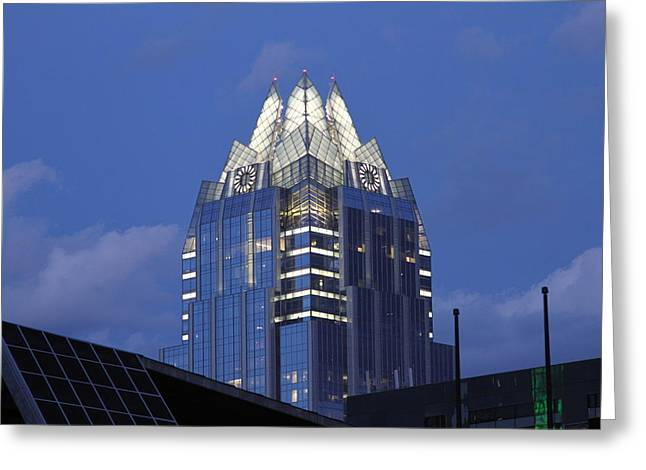 Frost Bank Building Greeting Cards - Frost Building Greeting Card by Lenny Sharp
