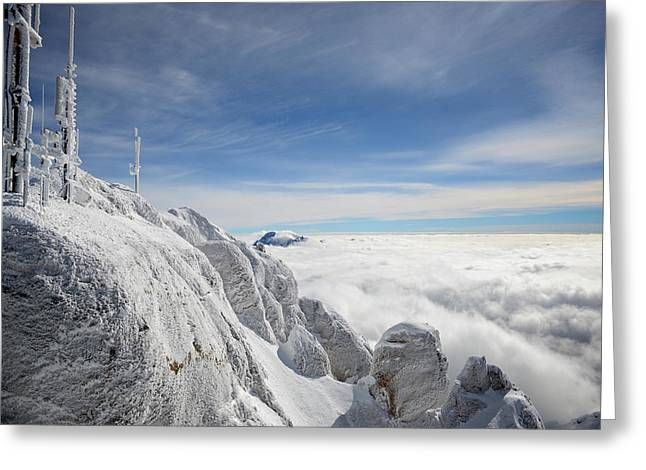 Blizzard Scenes Greeting Cards - Frost covered antennas on top of the Alps Greeting Card by Evgeny Govorov