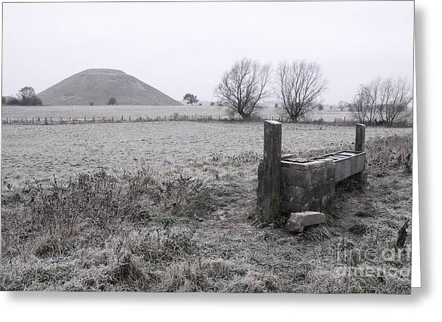 Mound Greeting Cards - Frost on Silbury Hill  Greeting Card by Rob Hawkins