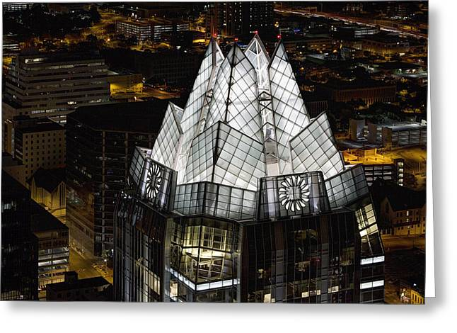 Frost Tower Greeting Cards - The Austin Skyline and the Iconic Frost Tower Greeting Card by Rob Greebon
