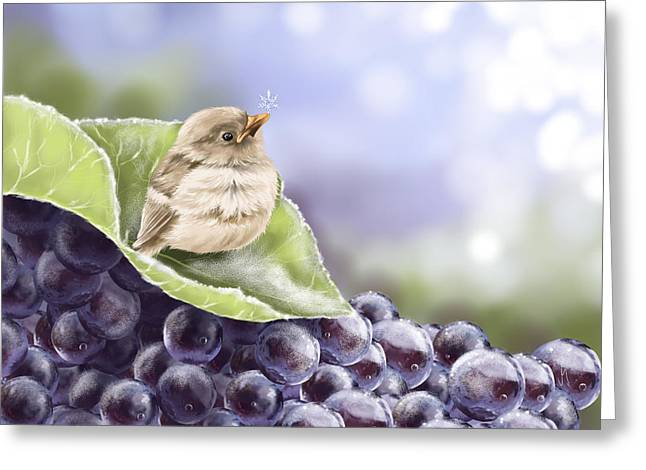 Grape Print Greeting Cards - Frost Greeting Card by Veronica Minozzi
