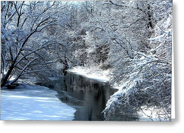 Debbie Finley Greeting Cards - Frosted Creek Greeting Card by Debbie Finley