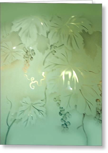 Grape Leaves Greeting Cards - Frosted Green Grapes with leaves Greeting Card by Linda Phelps