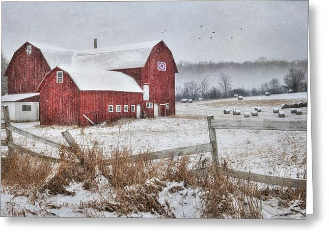 Barn Digital Greeting Cards - Frosted Hay Bales Greeting Card by Lori Deiter