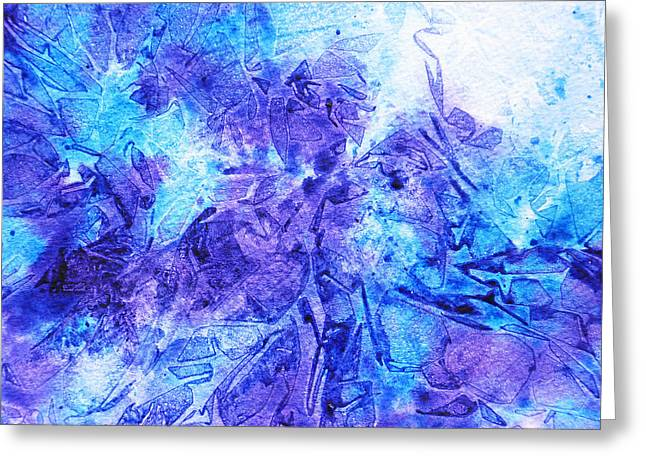 Snow Abstract Greeting Cards - Frosted Window Abstract I   Greeting Card by Irina Sztukowski