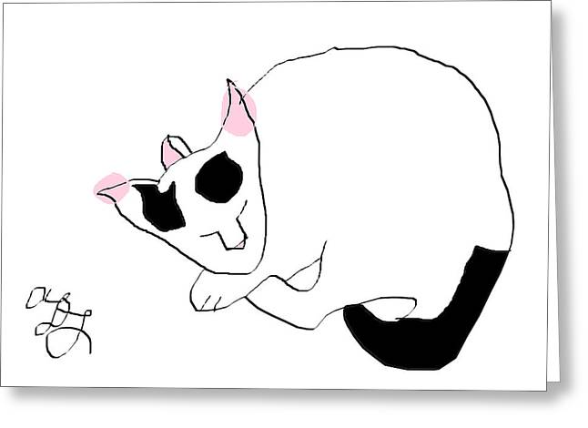 Baby Kitten Art Drawings Greeting Cards - Frosty Greeting Card by Anita Dale Livaditis