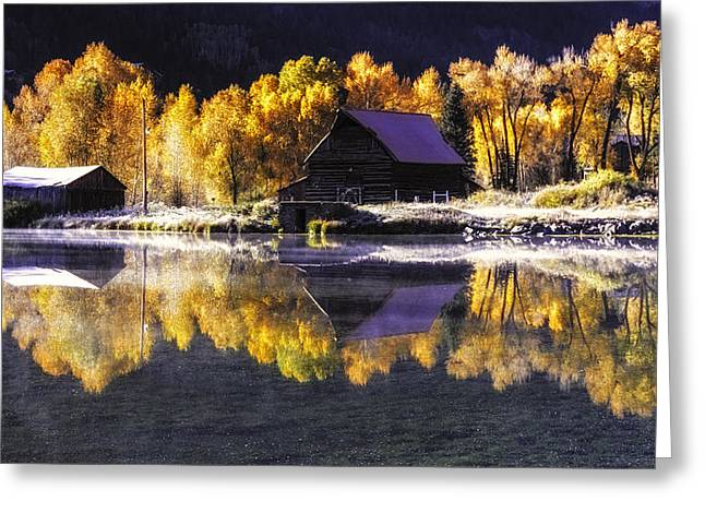 Scenic Drive Greeting Cards - Frosty Autumn Morning Greeting Card by Teri Virbickis