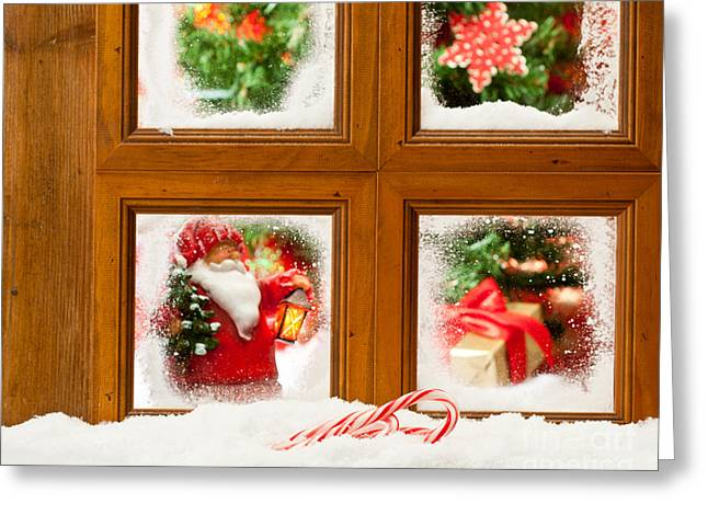 Snowy Scene Greeting Cards - Frosty Christmas Window Greeting Card by Amanda And Christopher Elwell