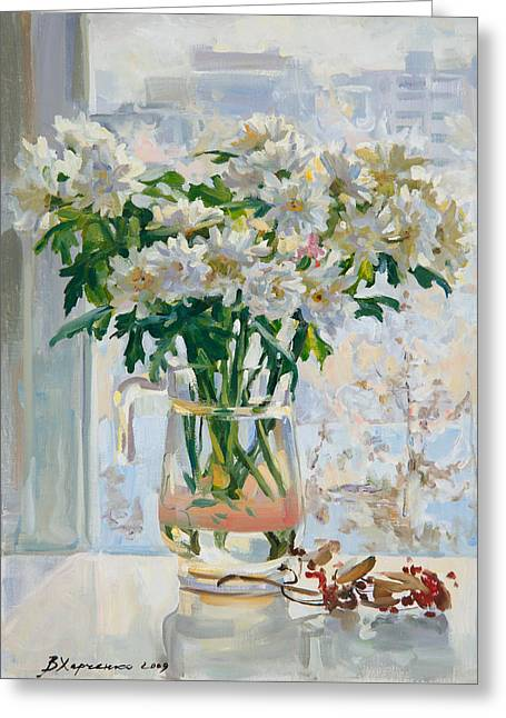 Chrysanthemums Paintings Greeting Cards - Frosty day outside the window Greeting Card by Victoria Kharchenko