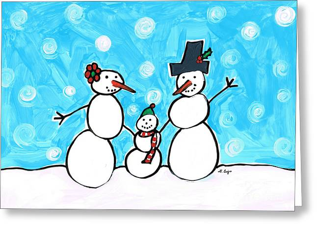 Frosty Family 2 Merry Christmas By Sharon Cummings Greeting Card by Sharon Cummings
