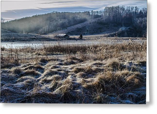 Rural Indiana Greeting Cards - Frosty Farm morning Greeting Card by Sven Brogren
