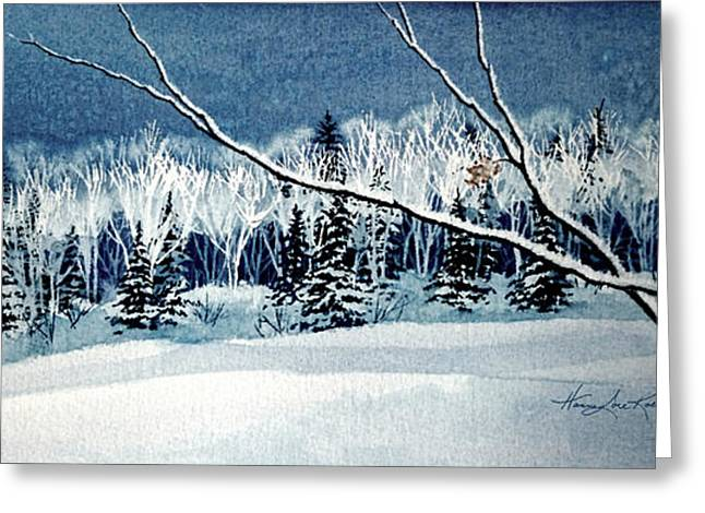 Canadian Winter Art Greeting Cards - Frosty Forest Valley Greeting Card by Hanne Lore Koehler