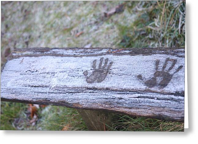 True Friendship Greeting Cards - Frosty hand print Greeting Card by Mike Allison