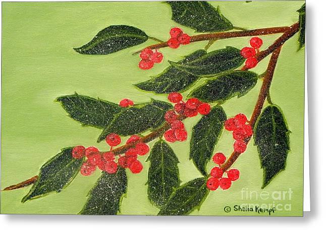 Frosty Holly Berries Greeting Card by Shelia Kempf