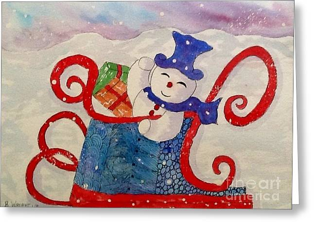 Frosty Mixed Media Greeting Cards - Frosty In His Sleigh2 Greeting Card by Bonnie Wright