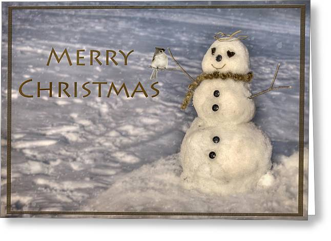 Wintry Digital Art Greeting Cards - Frosty Merry Christmas Greeting Card by Lori Deiter