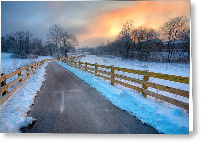 Rural Indiana Greeting Cards - Frosty Monon Greeting Card by Alexey Stiop