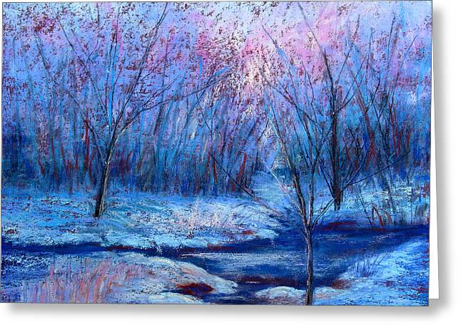 Snow Scene Landscape Pastels Greeting Cards - Frosty Morning Greeting Card by Christine Bass