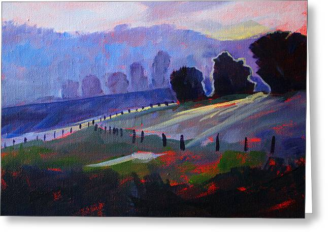 Haze Paintings Greeting Cards - Frosty Morning Greeting Card by Nancy Merkle