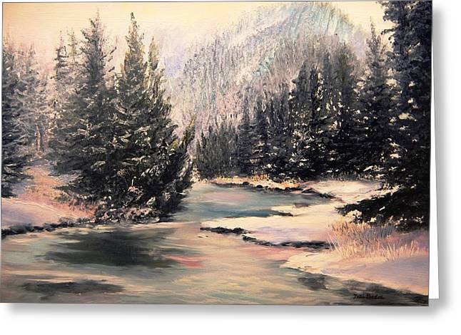 Gallatin River Paintings Greeting Cards - Frosty Morning Greeting Card by Patti Gordon